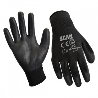 Scan Black PU Coated Glove Size 9 (L) (Pack of 240)