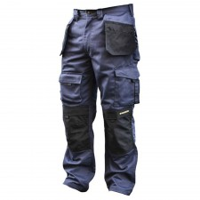 Roughneck Clothing Black & Blue Holster Work Trousers Waist 32in Leg 33in