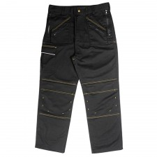 Roughneck Clothing Multi Zip Work Trouser Black