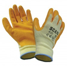 Scan Knit Shell Latex Palm Gloves Orange One Size (12 Pack)