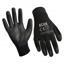 Scan Black PU Coated Gloves Size 9 (L) (Pack of 12)