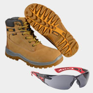 DEWALT Wheat Titanium S3 Safety Boots Bolle Safety Glasses