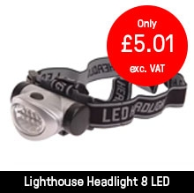 Lighthouse Headlight 3 Function Silver 8 LED