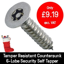 Tamper Resistant Countersunk 6-Lobe Security Self Tapper